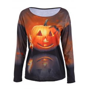3D Pumpkin Print Halloween T-Shirt