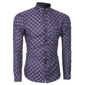 Single-Breasted Plaid Printed Long Sleeve Shirt