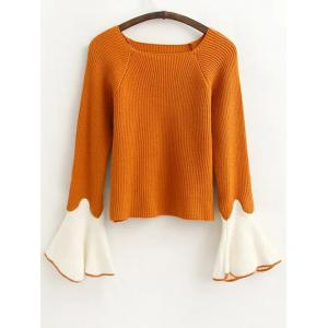 Flare Sleeve Color Block Fitting Sweater