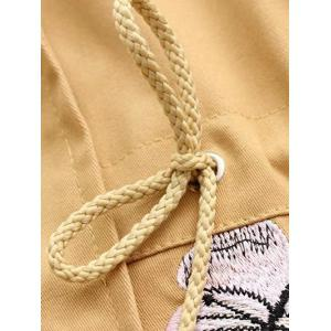 Hooded Embroidered Drawstring Coat -