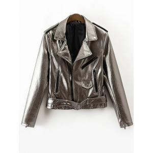 Zip-Up PU Biker Jacket