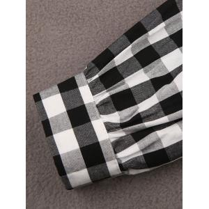Gingham Check Smock Blouse - WHITE/BLACK XL