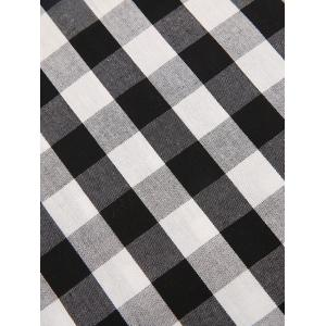 Gingham Check Smock Blouse - WHITE AND BLACK XL