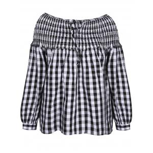 Gingham Check Smock Blouse