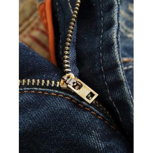 Scratched Zipper Fly Straight Leg Jeans -