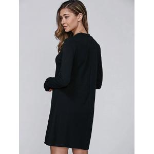 High Neck Long Sleeve Casual Jumper Dress - BLACK XL