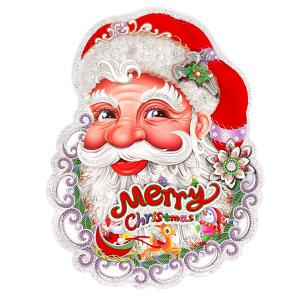 2PCS Christmas Party Supplies Senta Claus Wall Stickers Decoration - RED