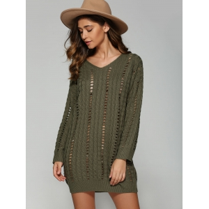 Casual V Neck Openwork Cable Knit Jumper Dress - BLACKISH GREEN ONE SIZE