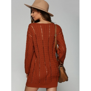 Casual V Neck Openwork Cable Knit Jumper Dress - DARKSALMON ONE SIZE