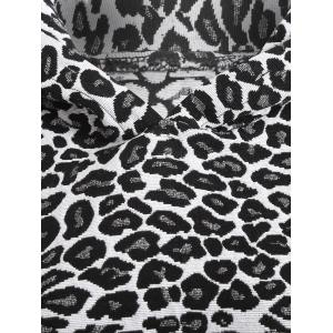 Raglan Sleeve Leopard Hoodie - WHITE AND BLACK 2XL
