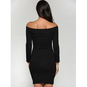 Off Shoulder Bodycon Skinny Long Sleeve Dress - BLACK S