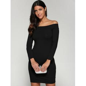 Off Shoulder Bodycon Skinny Long Sleeve Dress - BLACK M