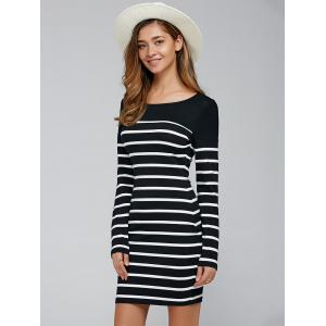 Elbow Patch Striped Long Sleve T-Shirt Dress - STRIPE XL