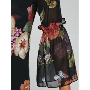 Bell Sleeves Floral Print Laciness Dress - BLACK XL