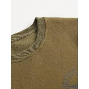 Letter Patch Desigh Thick Sweatshirt - ARMY GREEN L
