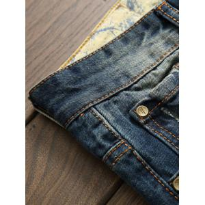 Scratched Zipper Fly Ripped Jeans - BLUE 38