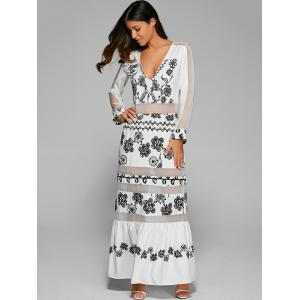 Floral Long Sleeve Maxi Prom Evening Dress - WHITE XL