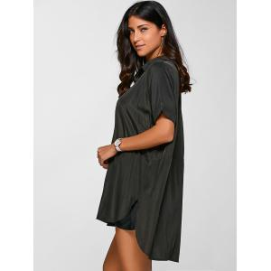 Casual Shirt Neck Half Sleeve High Low Shirt Dress -