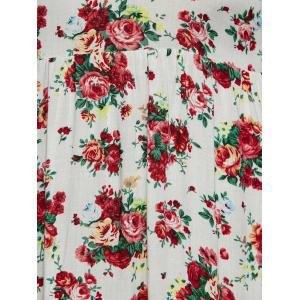 Plunging Neck Long Sleeve Maxi Floral Dress - WHITE XL