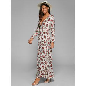 Plunging Neck Long Sleeve Maxi Floral Dress -