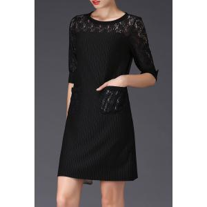 Stripe Lace Insert Shift Dress