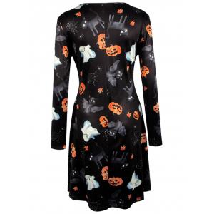 Pumpkin Halloween Print Long Sleeve Mini Swing Dress -