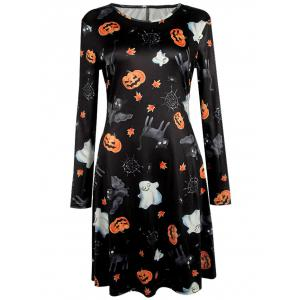 Pumpkin Halloween Print Long Sleeve Mini Swing Dress - Black - S