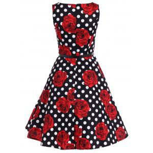 Zip Back Sleeveless Printed Polka Dot Belted Dress - RED 2XL