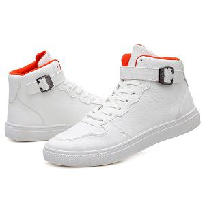 Tie Up Buckle PU Leather Boots - WHITE 42