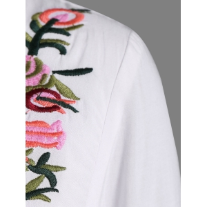 Ruffle Flower Embroidered Dress - WHITE 4XL