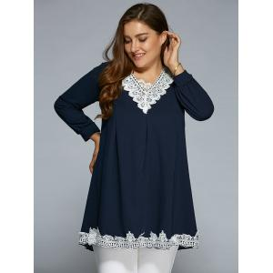 Baggy Lace Spliced Blouse - PURPLISH BLUE XL