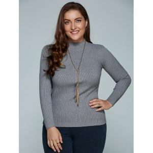 Plus Size Ribbed Fitted Knitwear - GRAY 5XL