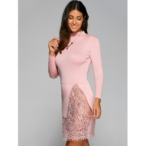 Laciness Patchwork Knitted Pullover - SHALLOW PINK ONE SIZE