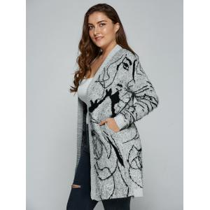 Plus Size Print Thick Sweater Cardigan - GRAY 5XL