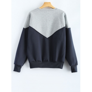 Round Neck Splicing Sweatshirt - BLUE M