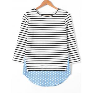 Polka Dot Trim Striped Blouse -