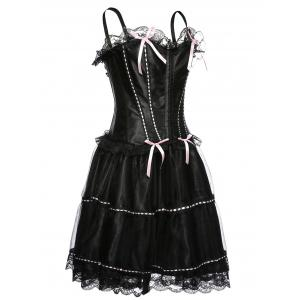 Spaghetti Strap Corset Top and Bubble Skirt Set - BLACK 2XL