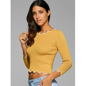 Wavy Cut Ribbed Cropped Pullover -