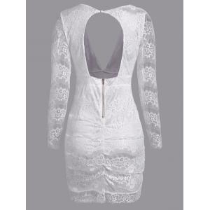 Plunge Lace Backless Long Sleeve Bodycon Dress - WHITE XL