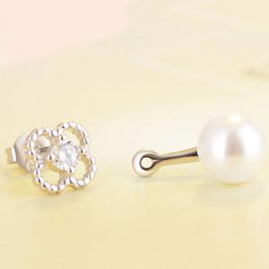 Rhinestoned Flower Fake Pearl Drop Earrings - PEARL WHITE