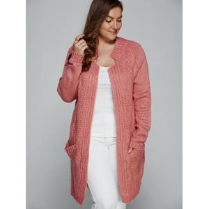 Light Pink Xl Plus Size Fisherman Knitted Pocket Long Cardigan ...