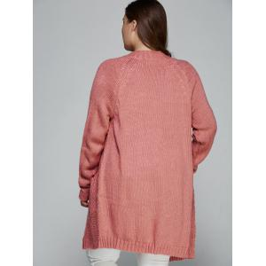 Plus Size Fisherman Knitted Pocket Long Cardigan -