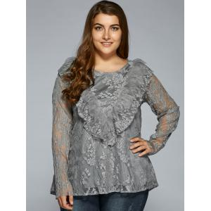 Laciness Flounce Plus Size Blouse - GRAY 4XL