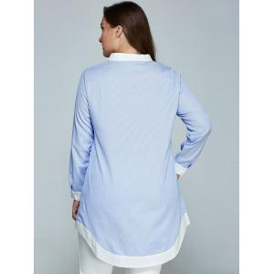 Plus Size Pinstripe Spliced Long Asymmetric Shirt - AZURE 5XL