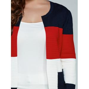 Color Block Plus Size Cardigan With Pockets - RED 5XL