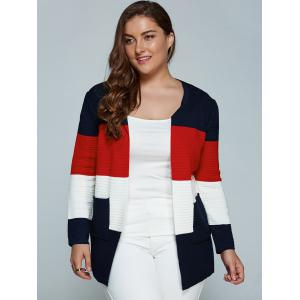 Color Block Plus Size Cardigan With Pockets - RED 2XL