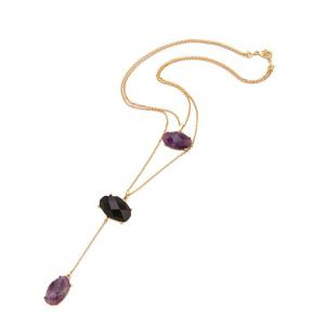 Natural Stone Layered Pendant Necklace - GOLDEN