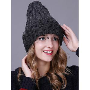 Warm Heart Lace Flanging Knit Faux Wool Ski Hat -
