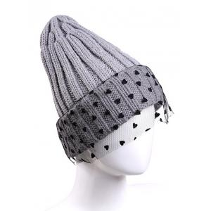 Warm Heart Lace Flanging Knit Faux Wool Ski Hat - LIGHT GRAY