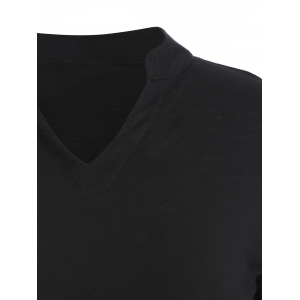 Plus Size V-Neck 3/4 Sleeve T-Shirt - BLACK 5XL